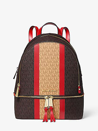 15a6302a02b0 Michael Kors Rhea Medium Striped Logo And Leather Backpack