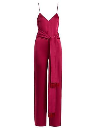 e2b5209be64b Galvan Cuzco Tassel Embellished Wide Leg Satin Jumpsuit - Womens - Pink