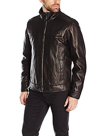 fe5cd826 Tommy Hilfiger Mens Smooth Lamb Leather Stand Collar Jacket, Black, XXL