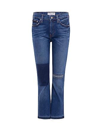 Derek Lam Gia Patchwork Cropped Flare Jeans Medium Wash