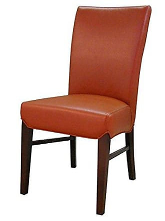 New Pacific Direct Milton Bonded Leather Chair,Brown Legs,Pumpkin Orange,Set of 2