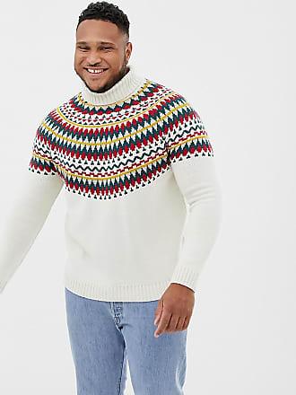 Asos Plus knitted fairilse roll neck sweater in beige - Beige