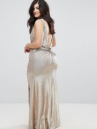 38625959edb Tfnc Plus High Neck Metallic Maxi Dress With Back Knot