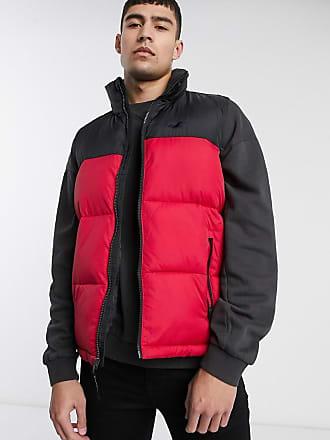 Hollister colourblock puffer vest in red/black