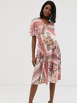 a596446c13 Asos Maternity ASOS DESIGN Maternity floral one shoulder pleated crop top  midi dress