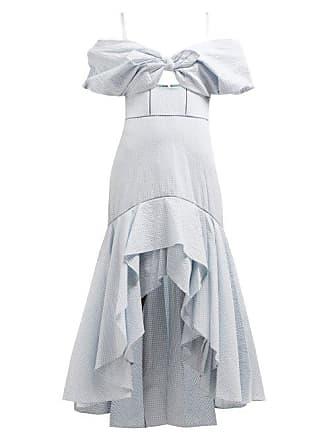 Jonathan Simkhai Off The Shoulder Gingham Seersucker Dress - Womens - Blue White