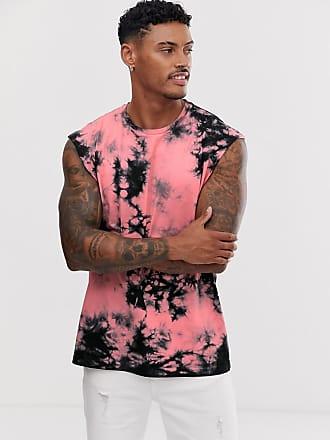 Asos oversized sleeveless t-shirt with coral stripe tie dye wash - Pink