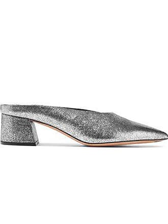 Vince Vince. Woman Ralston Metallic Cracked-leather Mules Silver Size 8.5