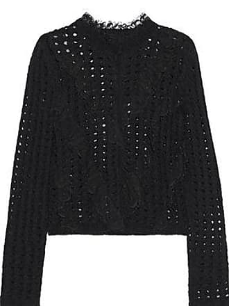 Giambattista Valli Giambattista Valli Woman Lace-trimmed Open-knit Wool-blend Cardigan Black Size 40