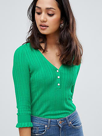 Miss Selfridge lightweight sweater with button front in green - Green