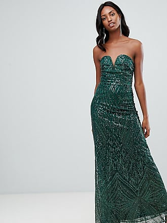 cb299818 Tfnc Tall patterned sequin bandeau maxi dress in green - Green