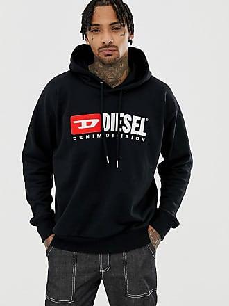 Diesel S-Division hooded logo sweat in black - Black
