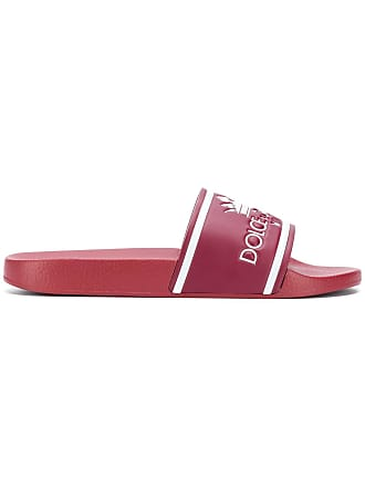 Dolce & Gabbana Slide de couro com logo - Vermelho