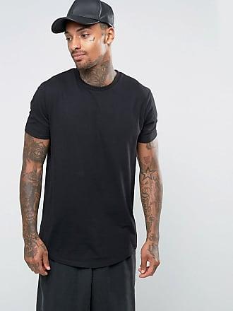 Asos ASOS - Lang geschnittenes T-Shirt mit abgerundetem Saum in Schwarz