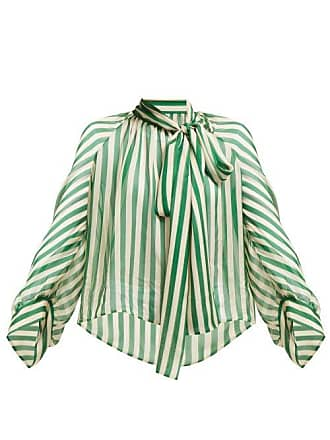 Petar Petrov Bride Striped Pussybow Silk Blouse - Womens - Green White