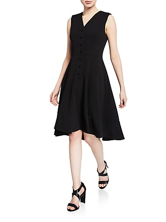Iconic American Designer V-Neck Button-Front Sleeveless High-Low Midi Dress
