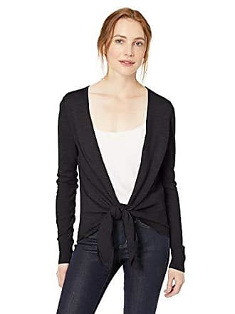 Daily Ritual Womens Lightweight Tie-Front Cardigan, Black, X-Small