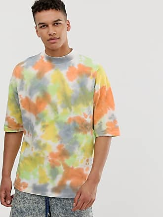 Asos oversized t-shirt with wide turtleneck in heavyweight fabric in bright spot tie dye wash - Multi