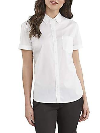 2fe6ab8e Dickies Womens Stretch Poplin Button-Up Short Sleeve Shirt, White, Medium