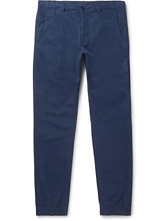 Aspesi Navy Tapered Slim-fit Garment-dyed Cotton Trousers - Navy