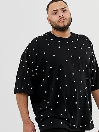 e56eb766b295cb Asos Plus - Schwarzes Oversize-T-Shirt aus schwerem Stoff mit durchgängiger  Perlenverzierung -
