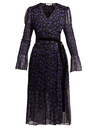 4c8f9fb8a84 Diane Von Fürstenberg Ani Ditsy Print Silk Chiffon Wrap Dress - Womens -  Blue Print