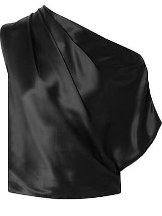 Michelle Mason One-shoulder Draped Silk-charmeuse Top - Black