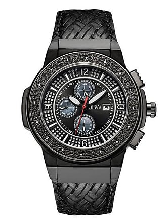 Zales Mens JBW Saxon 1/6 CT. T.w. Diamond and Crystal Accent Black IP Strap Watch with Black Dial (Model: Jb-6101L-I)