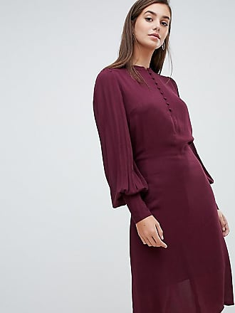 dc261eff174a Y.A.S. Tall balloon sleeve textured tie waist midi dress in burgundy