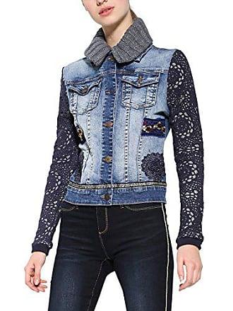 9c1ad8f254c9 Desigual Chaq_Exotic Crochet Giacca di Jeans, Blu (Denim Medium Wash 5053),  46