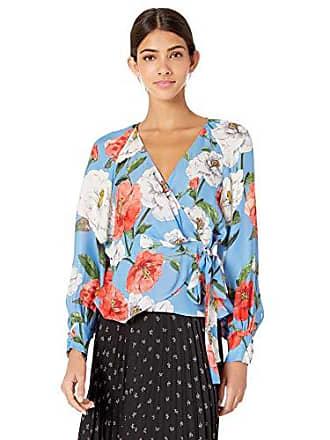 Parker Womens Sheridan Long Sleeve Wrap Blouse, Maritime Wildflower, M