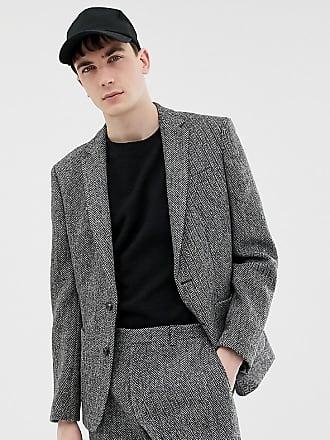 Noak slim fit harris tweed suit jacket in gray - Gray