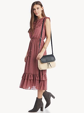 31c82ce02ea Moon River Womens Ruffle Detailed Midi Dress In Color  Dusty Mauve Size  Large Polyester
