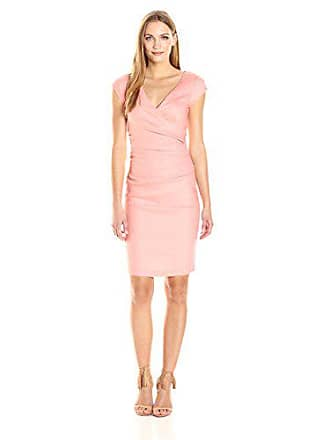 Nicole Miller Womens Beckett Stretch Linen-Blend Tuck Dress, Petal Pink, 8