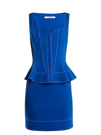 Givenchy Sweetheart Neck Peplum Waist Dress - Womens - Blue