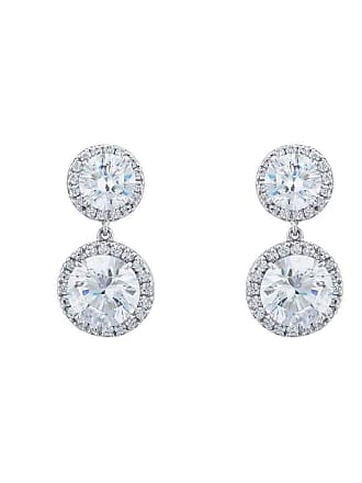 Fantasia Sterling Silver & Palladium Double Round Pave Drop Earrings