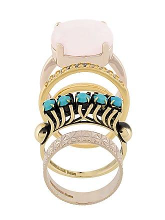 Iosselliani Conjunto de anéis Elegua banhados a ouro - Metálico