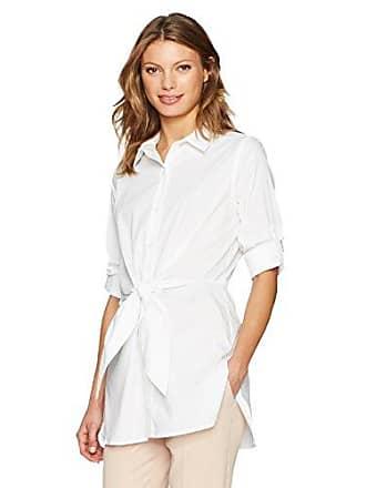 Calvin Klein Womens Roll Sleeve Tie Waist Tunic, Soft White, XS