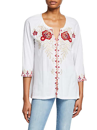 Johnny Was Maya Floral Embroidered Peasant Blouse