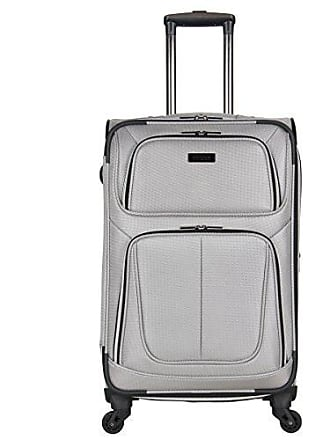 Kenneth Cole Reaction Kenneth Cole Reaction Lincoln Square 24 1680d Polyester Expandable 4-Wheel Spinner Checked Luggage, Light Silver