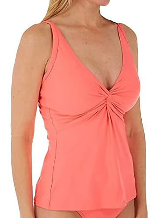 Sunsets Womens Forever Bra Sized Tankini Top Swimsuit with Hidden Underwire, Bright Guava, 34DD