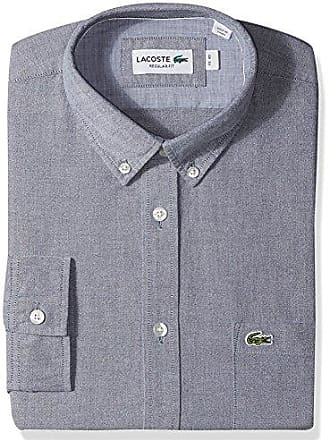 b57a95cd0 Lacoste Mens Long Sleeve Button Down with Pocket Oxford Solid Regular Fit