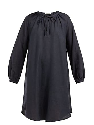 Denis Colomb Gathered Neck Linen Dress - Womens - Navy