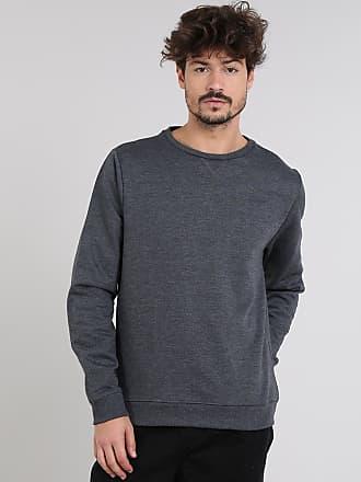 Basics Blusão Masculino Básico em Moletom Cinza Mescla Escuro