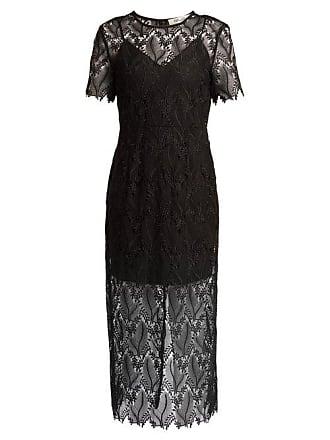 Diane Von Fürstenberg Leaf And Floral Macramé Lace Pencil Dress - Womens - Black