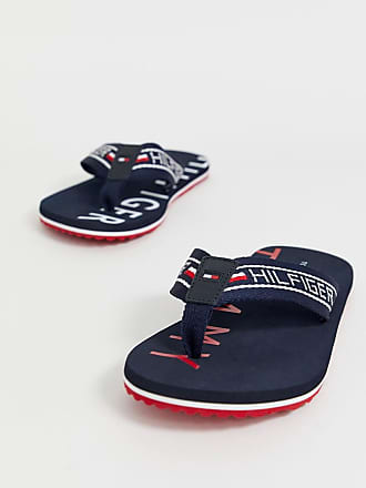 a412d19db Tommy Hilfiger flip flop with flag detail and sole logo print in navy