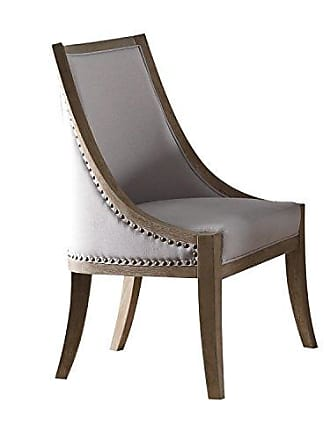ACME ACME Furniture Eleonore Side Chair, Taupe and Weathered Oak