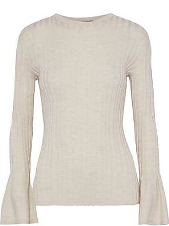 Akris Akris Woman Fluted Ribbed Cashmere-blend Sweater Beige Size 40