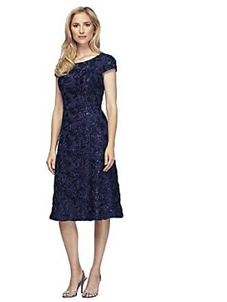 0d0f96ceecd Alex Evenings Womens Petite Tea Length A-Line Rosette Dress with Cap  Sleeves