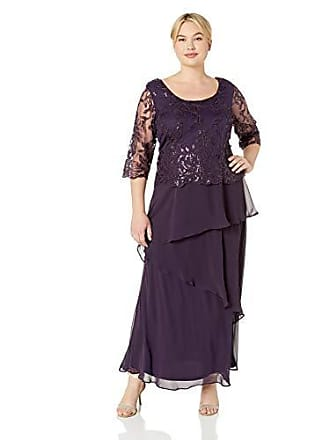 Le Bos Womens Embroidered MESH Popover Tiered Long Dress, Eggplant, 18